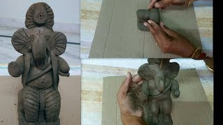 How to make clay ganesha at home // vinayaka making for vinayaka chathurthi (matti vinayaka)