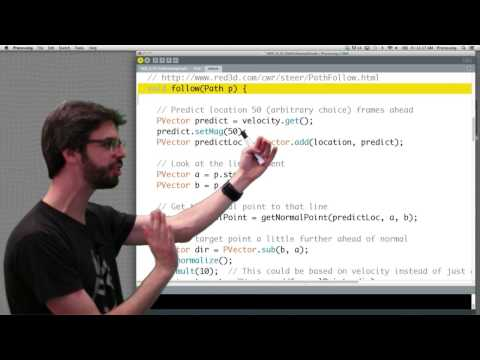 6.6: Steering Behaviors: Path Following - The Nature of Code