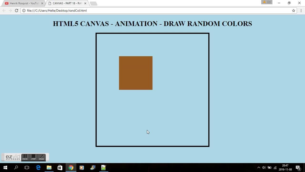 HTML5 CANVAS - PART 18 - AUTOMATIC RANDOM COLOR