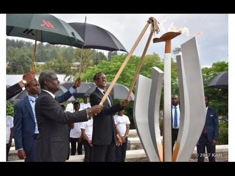 Kwibuka23: President Kagame and  Moussa Faki Mahamat light the Flame of Remembrance