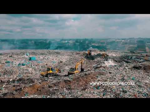Aerial video of Dandora dump site - Nairobi