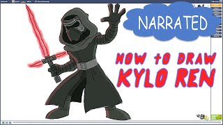 How to Draw Kylo Ren from Star Wars VII (NARRATED)