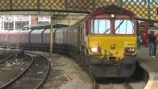 DBS Class 66 No 66044 at Carlisle With a Southbound Coal Train - 18th March 2015