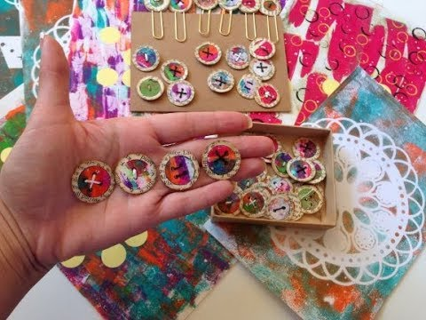 Gelli Print Stickers and Paper Buttons Tutorial - DIY