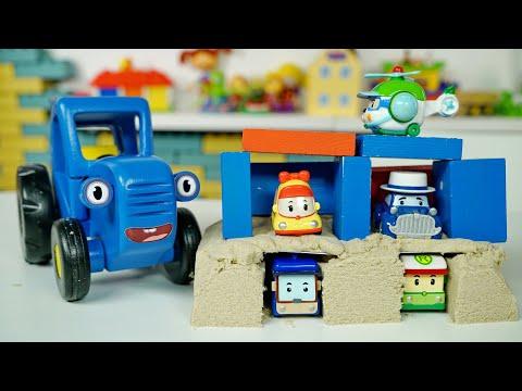 Строим гараж для машинок в песочнице - Синий трактор Vlog