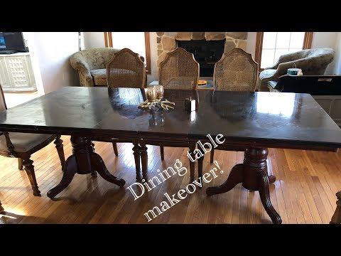 Dining Table makeover! DIY Chalk paint on dining table - Life With Queen