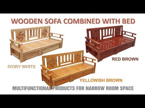 Wooden Sofa Bed Multicolor (YELLOWISH, IVORY,  BROWN) | Sofa Giường Nhiều Màu (VÀNG, TRẮNG, NÂU)