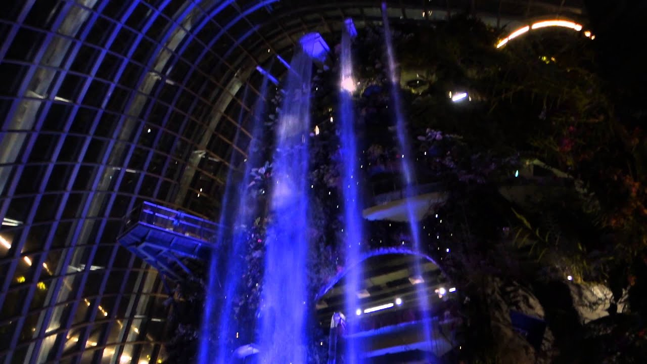 Garden By The Bay Night waterfall night view at gardensthe bay cloud forest