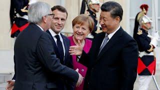 REPLAY - Emmanuel Macron s&#39exprime devant Xi Jinping, Merkel et Juncker reunis a l&#39E ...