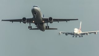 AIRBUS A380 LANDING with an AIRBUS A320 overtaking an AIRBUS A340 and DEPARTING ahead (4K)