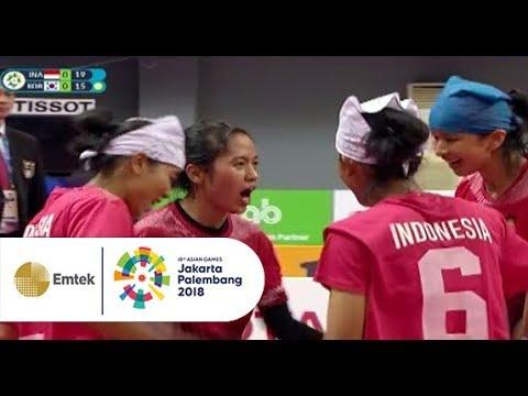 Pertandingan Sengit Sepak Takraw Putri INA Vs KOR   Gelora Asian Games