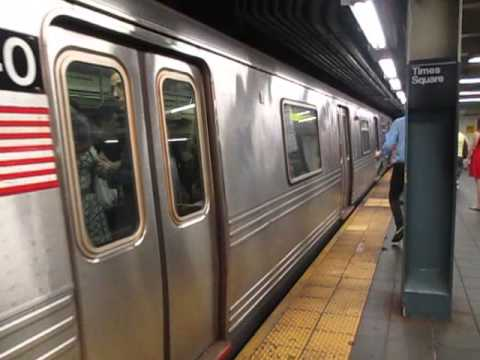 BMT Broadway lines: Queens bound (N) (Q) (R) Trains at Times Square-42 Street