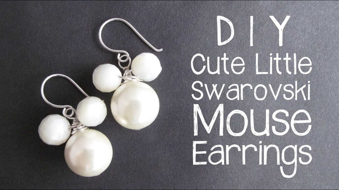 a09fd8580 DIY Mouse Earrings with Swarovski Pearls - wire wrapping jewelry tutorial
