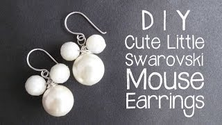 DIY Mouse Earrings with Swarovski Pearls - wire wrapping jewelry tutorial