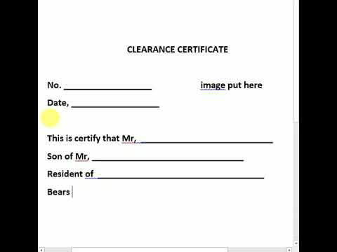 CLEARANCE CERTIFICATE OF POLICE
