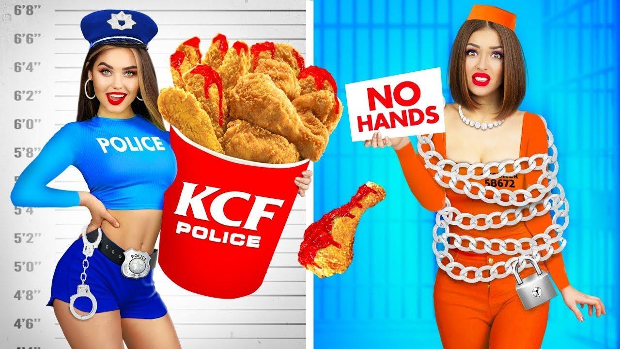 Desafío de comer sin manos, con una mano y con dos manos || Divertida batalla de comida de RATATA
