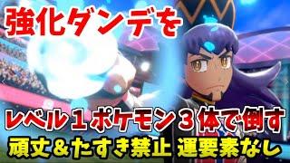 【ポケモン剣盾】開始レベル1のポケモン3体だけで強化ダンデを倒せる!?【頑丈タ…