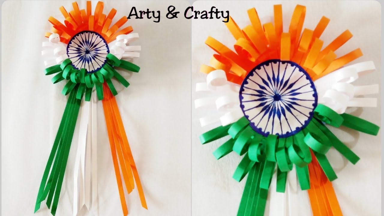 Craft For Flag Of India: How To Make Indian Tricolor Flag Badge/Independence Day