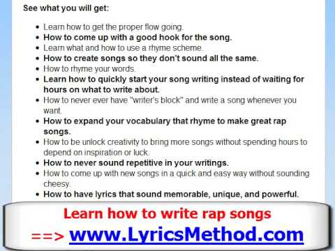How to Write a Rap Song  Learn To Write Rap Lyrics Tips  Lyrics Method  Part 2 of 5  YouTube