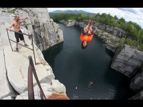 110 ft TRIPLE GAINER! Vermont Cliff Jumping