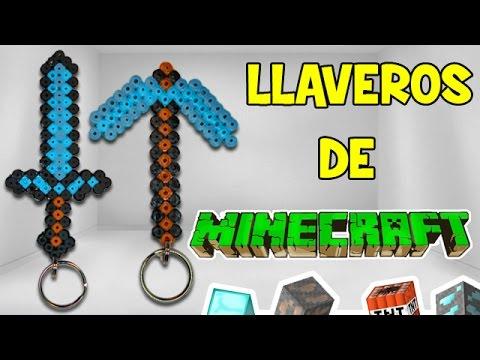 LLavero de Minecraft con Hama Beads | Espada y Pico Minecraft