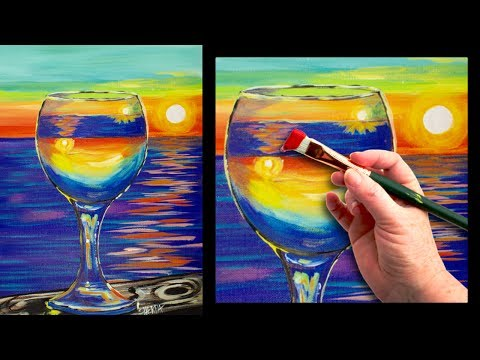 Sunset reflected in a glass easy beginner painting tutorial 🍷🌆