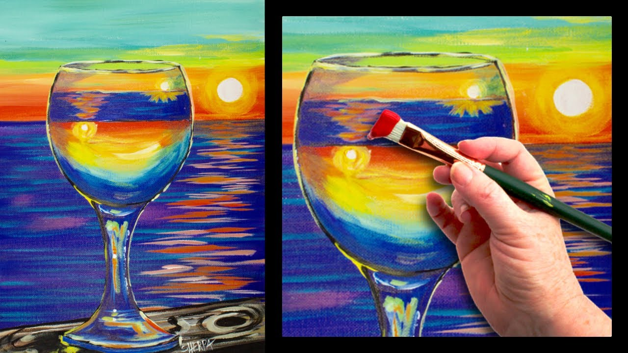 sunset reflected in a glass easy beginner painting tutorial youtube. Black Bedroom Furniture Sets. Home Design Ideas