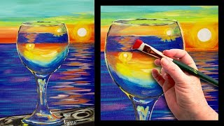 Sunset Reflected In A Glass Easy Beginner Painting Tutorial 🍷🌆   Theartsherpa