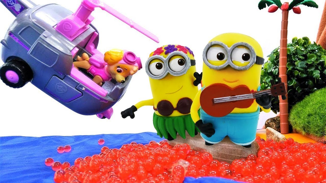 Funny Videos Paw Patrol Skye And Zuma Rescue Minions From A Volcano Eruption