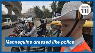 Mannequins dressed as traffic police in Bengaluru