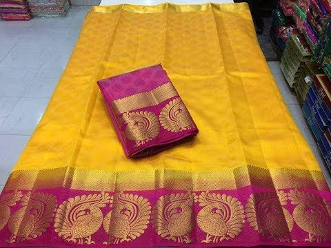 Kaanjeevaram Embossed double peacock tussar silk Sarees with price/ Price:800/-