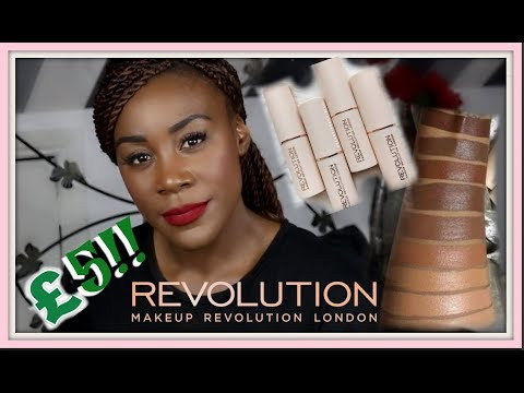 NEW MAKEUP REVOLUTION FAST BASE FOUNDATION STICK |  DARK SKIN | SWATCHES & REVIEW