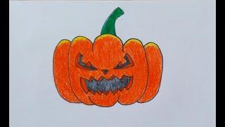 Cách Vẽ Và Tô Màu Quả Bí Ngô Halloween