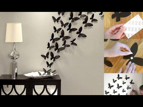 diy dekorasi kamar dengan hiasan kupu kupu dari kertas origami ide kreatif youtube. Black Bedroom Furniture Sets. Home Design Ideas