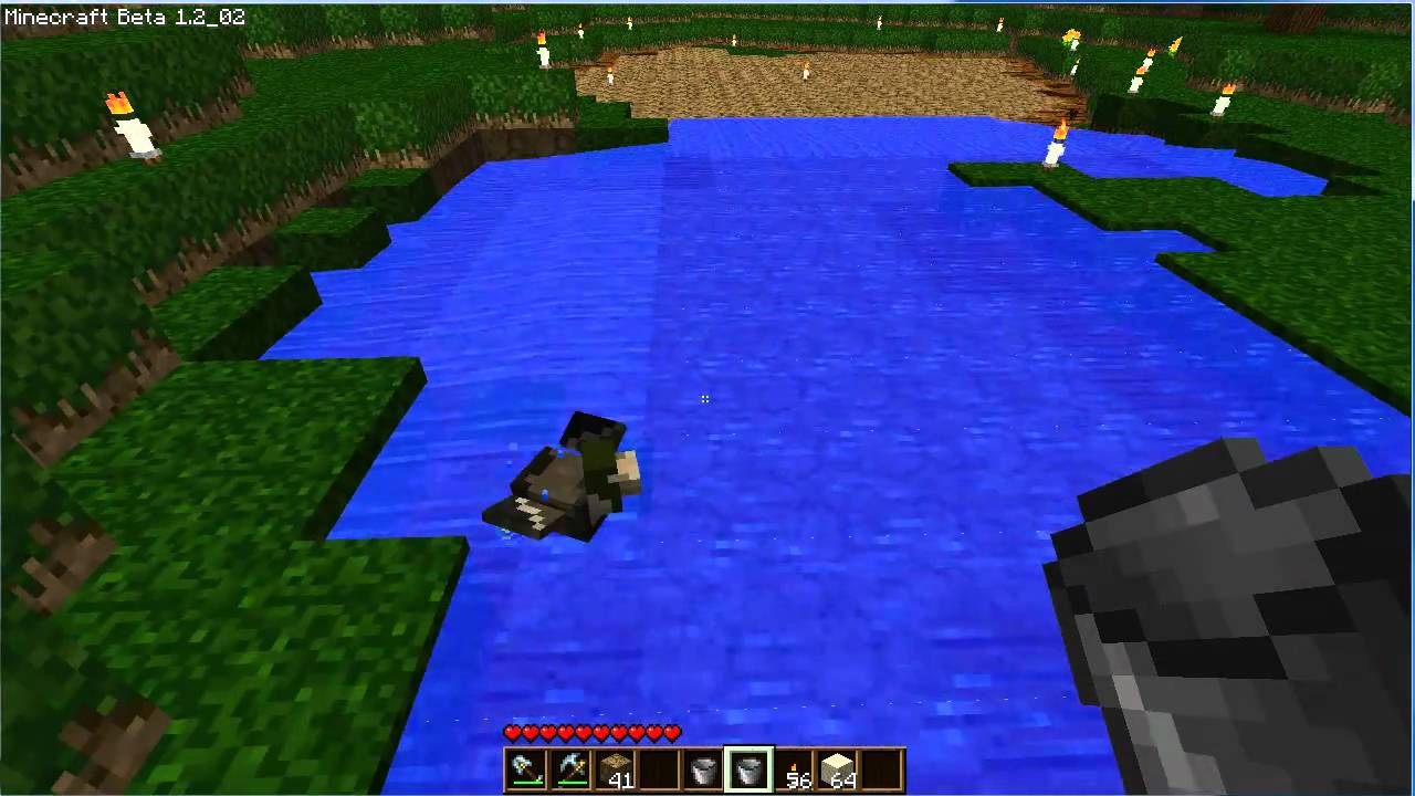 Minecraft filling a pond the painless way youtube for Best way to build a pond