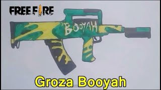 Cara Menggambar Senjata Groza Booyah Free Fire Drawing Groza Booyah Ff Youtube