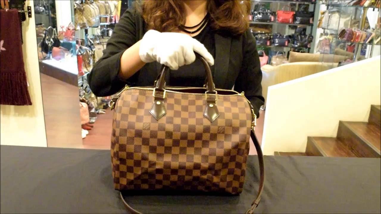 a7e0061b99e7 Louis Vuitton LV N41367 N41183 Speedy 30 棋盤格紋附背帶手提包附銷組 ...