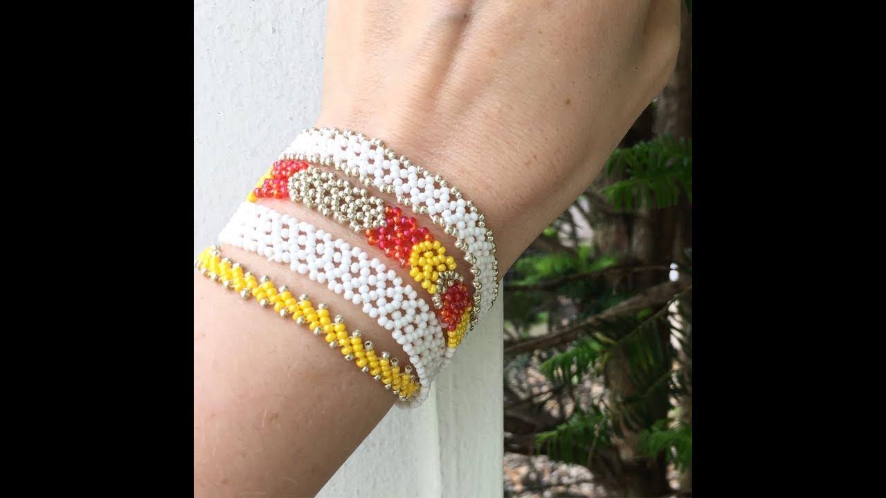 Ажурная бисерная цепочка. Узор для браслета или чокера из бисера. Летние украшения /DIY  Ribbon lace