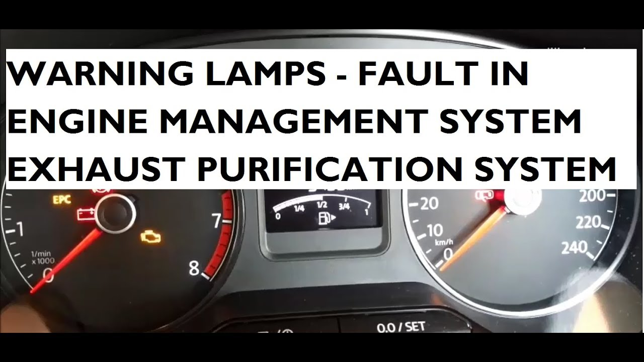Warning Lamps Indicating Fault In Engine Management Exhaust