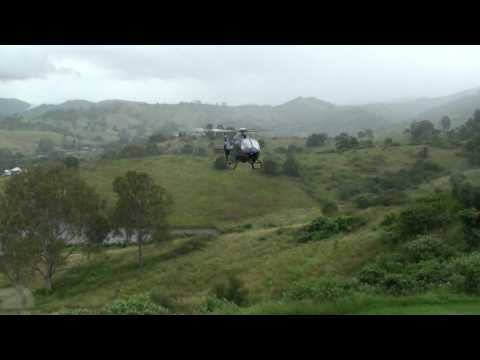 Two Helicopter Arrival for Wedding at Glengariff Historic Estate outside Brisbane