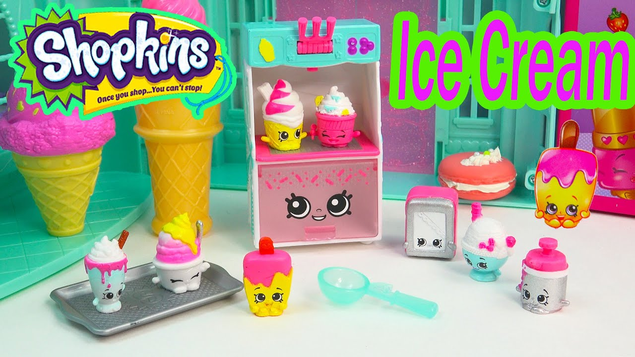 Shopkins Season 3 Playset Cool Creamy Collection Food Fair Exclusive Ice Cream Toy Video Unboxing