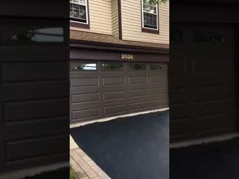 16x7 CHI 4283 Brown Garage Door With Insulated Sunburst Glass Carol Stream, Il