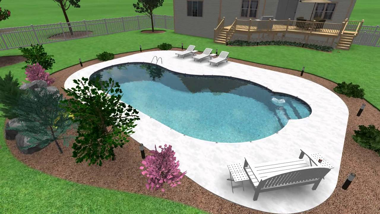 Design Ideas Kidney Shaped Swimming Pool   YouTube