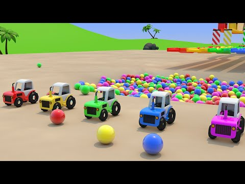 Colorful Toy Tractors and Color Ball Pool Toys for Kids Learning Colors with Sliding Tracks