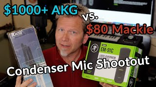 $80 MACKIE EM-91C vs. $1000+ AKG-C414 - Large-Diaphragm CONDENSER MIC SHOOTOUT - Guitar Discoveries
