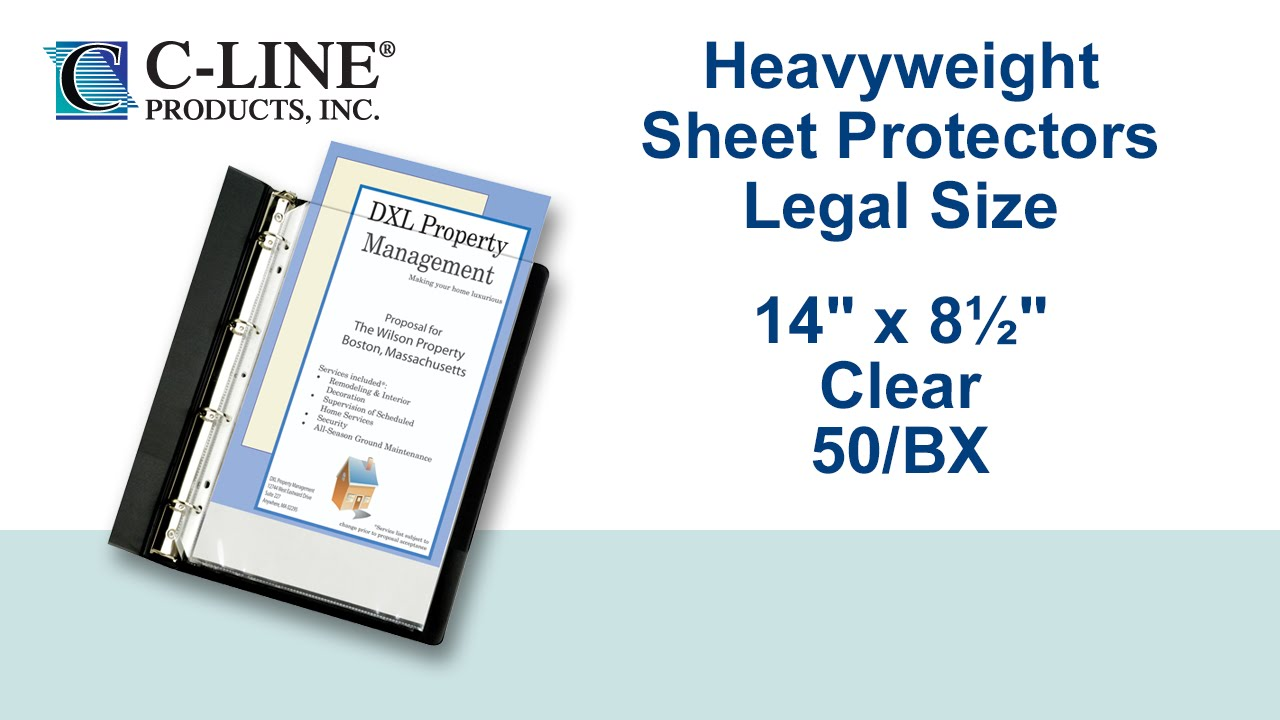 50//BX New C-Line Letter Size Clear Heavyweight Poly Sheet Protectors