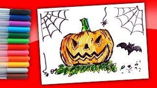 Как нарисовать Страшную Тыкву фломастерами Рисунки на Хэллоуин