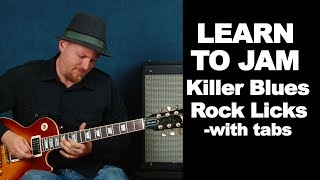 Learn to solo blues rock licks: with tabs (learn to jam guitar lesson)