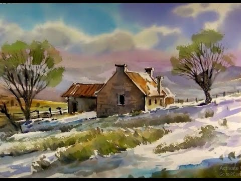 Watercolor Landscape Painting Winter Farm YouTube