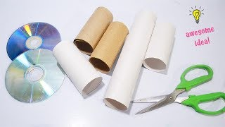 How To Recycle Old Cds And Empty Tissue Roll Best Reuse Idea With Cd and Tissue Roll